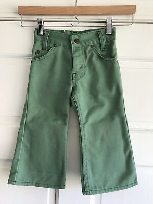 Levis Vintage Green Denim Double Knee Bell Bottom Jeans Kids Toddler Size 2