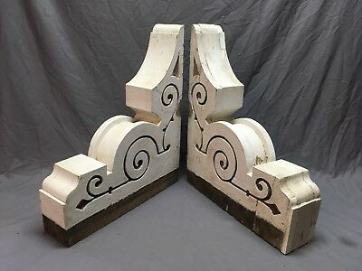 Pr Antique Victorian Gingerbread Porch Corbels Shelf Brackets Vtg Chic 288-18E
