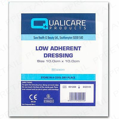 10 LOW ADHERENT LARGE WOUND DRESSINGS 10x10cm Sterile First Aid Swab Care Pad