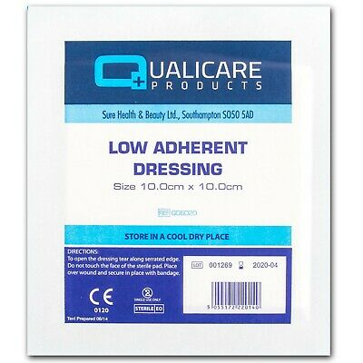 25 x LOW ADHERENT WOUND DRESSINGS 10x10cm Large Burn Scald First Aid Healing Pad