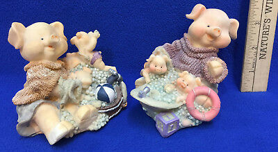 Pig Bubble Bath Time Figurines Pair Set Resin Momma & Piglets Mom Piggy Family