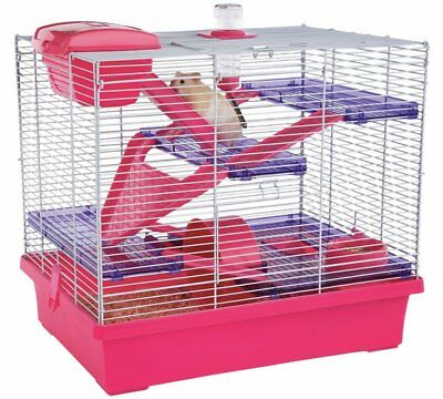 Rosewood Pink/Purple Pico Hamster Cage Numerous Platforms Tunnels And X Large_UK