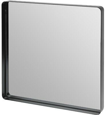 Large Black Metal Frame Square Wall Mirror 40cm x 40cm With round corners