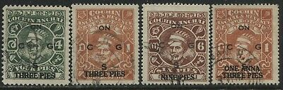 India Cochin State 1944 Officials 4 pies to 1 Anna used