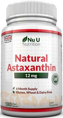 Astaxanthin 12mg – 180 Softgels (6 Month Supply) – From Nu U Nutrition