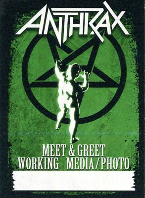 Anthrax 2013 Metal Alliance Tour Stick-on Backstage Pass Multi Green Unused