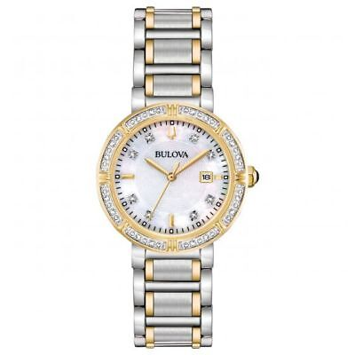New Bulova 98R260 30mm 24 Diamonds Accented Two-Tone Women's Watch