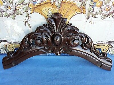 Antique Original French Architectural Hand Carved Wood Pediment