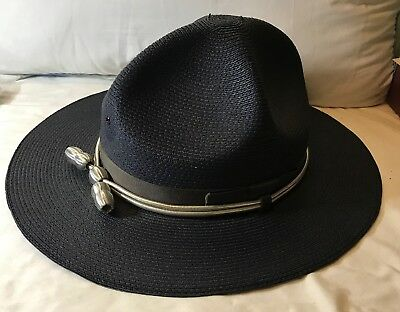 """New State Trooper Hat Stratton Straw Style """"The Lawman"""" Navy Size 7 3/8 59"""