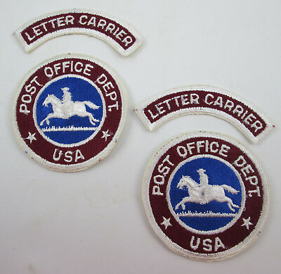 TWO USPS Patch Sets US Post Office Department Letter Carrier Vintage Old Style