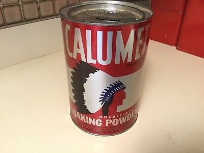 Vintage Calumet Baking Powder Lg. 5lb. Advertising Tin w Lid & Indian Logo Bank