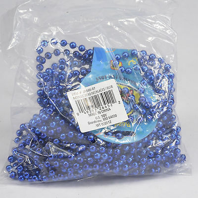 1 bag (12) Blue Mardi Gras Beads Kid Fun brand beaded necklaces party carnival