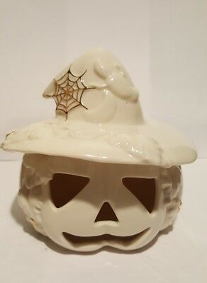 LENOX Halloween Jack-O-Lantern W/ Witches Spiderweb Hat Trimmed in Gold.