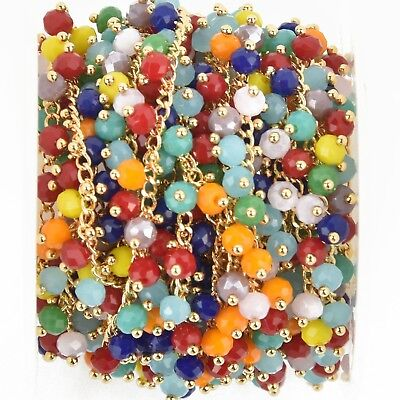 1 yard RAINBOW Crystal Bead Chain, bright gold wire loops, 4mm Rondelle fch0938a