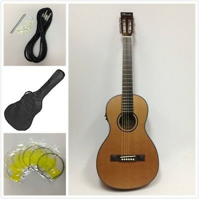Caraya Parlor Guitar 610 Natural Cedar with EQ + Gig Bag + Strings