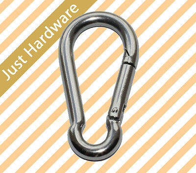 316 STAINLESS STEEL Snap Hook Clip Camping Climbing Lock 50 x 5mm NEW