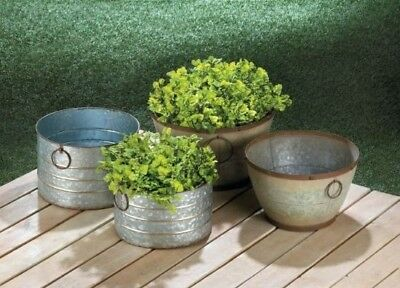 Large Galvanized Tub Bucket Planter Box Steel Pot Set Farmhouse