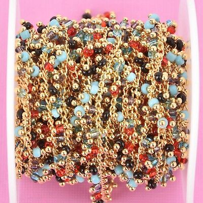 1 yard AUTUMN MIX Crystal Bead Chain, bright gold, 2.5mm Rondelle fch0947a