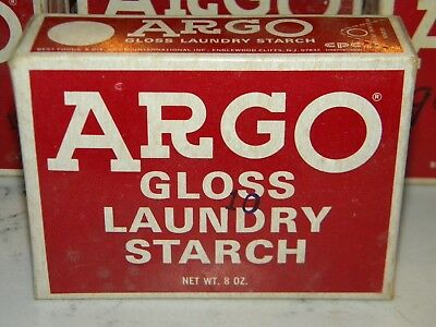 Vintage Argo Gloss Laundry Starch Red and White 8 oz. Box Unopened New old stock
