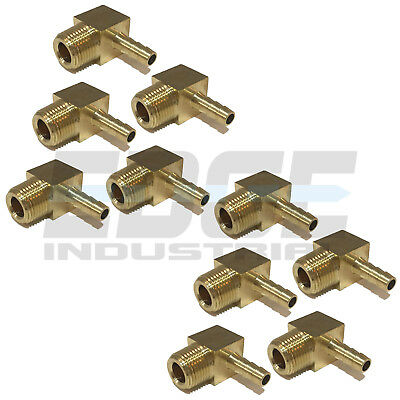 (10 Pieces) 1/4 HOSE BARB ELBOW X 3/8 MALE NPT Brass Pipe Fitting Gas Fuel Water