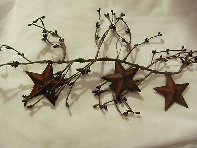 "17"" Country Rustic Primitive pip Berry Floral Twig garland SWAG METAL STAR New"