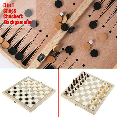 3 in 1 Folding Wooden Wood Chess Set Board Game Gift Checkers Backgammon 5 Sizes