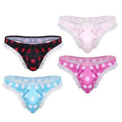 Sissy Mens Satin Underwear Comfortable Low Waist Smooth Brief Thong Sexy Panties