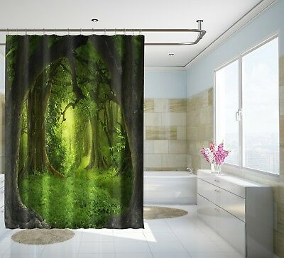 3d Dark Green Tree 8 Shower Curtain Waterproof Fiber Bathroom Windows Toilet Curtains, Drapes & Valances