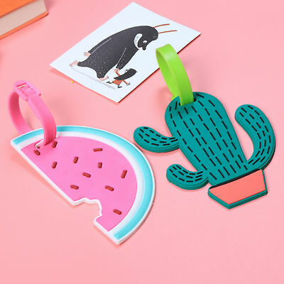 1pc Cute Cactus Watermelon Fruit Luggage Tag Slicone Label Bag Tags Hot Sale