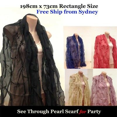 Formal Fuction Party Scarf Shawl with Pearl Deco Lace End No Fringe -From Sydney