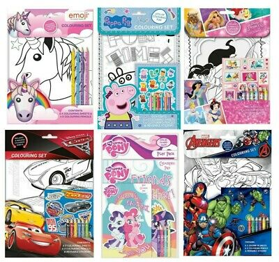 Kids Colouring Book Set Princess Little Pony Unicorn Dinosaur Colouring Set New