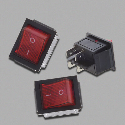 2x(Rot Beleuchtet 4 Pin DPST ON / OFF-Snap in Wippschalter 16A 20A 250V AC B8W2