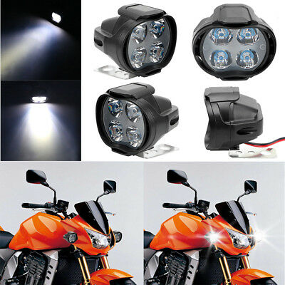 Motorcycle Headlight Spot Lights Head Lamp 4 LED Front DC12V 12W  White Driving