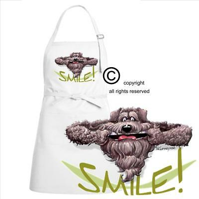 Bouvier Des Flandres Dog Cartoon Caricature Big Smile Kitchen Full Chef Apron