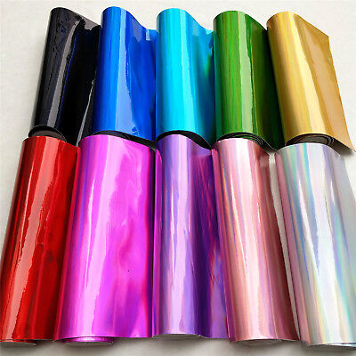 Assorted 10pcs Iridescent Holographic Mirrored Faux Leather Vinyl Fabric Craft