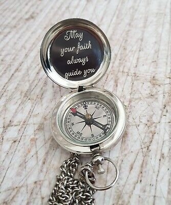 Silver Engraved Compass, Engraved Compass, Personalized Compass, Baptism Gift