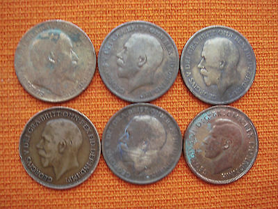 LOT Old Great Britain UK 1908 1911 1914 1919 1921 One Penny Pence Coin Nr 4998