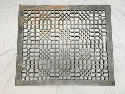 Antique Cast Iron Cold Air Return Vent Vtg Grill Waffle Old 24x20 297-18E