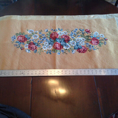 Vtg Xl Completed Floal Needlepoint Bench Stool Cover Tapestry