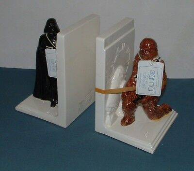 Vintage Star Wars Chewbacca / Darth Vader Bookends With Box - Sigma - 1980's