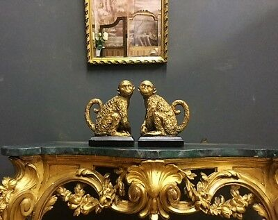 A Pair Of Gorgeous Gold & Black Monkey  Bookends