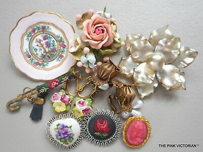 Antique Vintage Jewelry Lot,victorian Themed Pieces,pins, Earrings,petit Point,