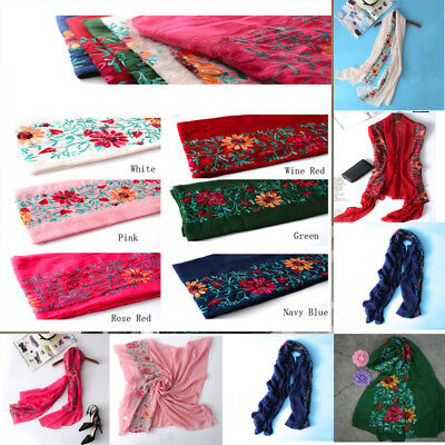 Women Large Embroidered Floral Scarf Cotton Pashmina Shawl Wrap Scarves