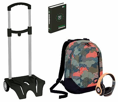 Kit scuola Zaino + EASY TROLLEY + Diario SEVEN - THE DOUBLE CAMOUFLAGE Verde - c