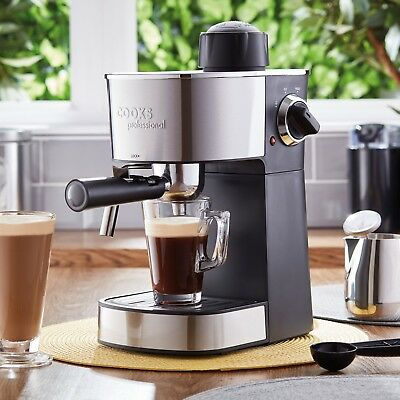 Cooks Professional Espresso Machine Coffee Maker 800W Milk Frothing Arm Gift NEW
