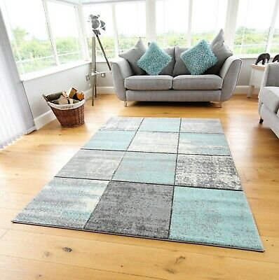 New Modern Duck Egg Light Blue Good Quality Small Large Floor Carpet Rugs Runner