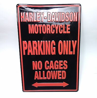 Harley-Davidson Motorcycle Parking Only No Cages Allowed Metal Sign 18 x 12