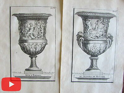Vases of Versailles France 1694 lot x 14 charming antique engraved prints