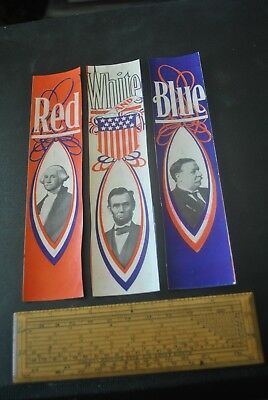 3 Separated Presidential Campaign Strips/william Howard Taft, Red, White & Blue