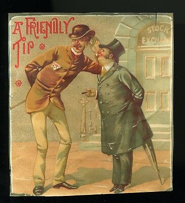Cigar Box Outer Label, A Friendly Tip, Two Men In Front Of Stock Exchange